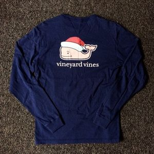 Vineyard Vines Navy Christmas Long Sleeve Shirt